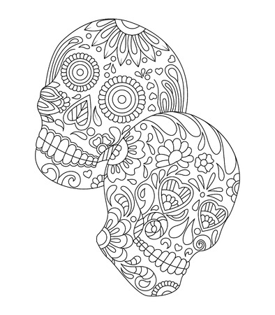 hand drawn mexican sugar skull with pattern on the face as isolated vector file Stock Illustratie