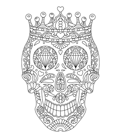 Hand drawn mexican Skull wearing crown. Flowers Patterns on the face as isolated vector file Illustration