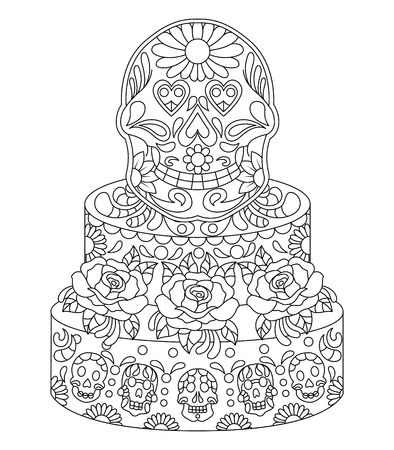 Hand drawn Skull on Cake with Flowers Pattern.Mexican holiday Day of the Dead.isolated vector file Illustration