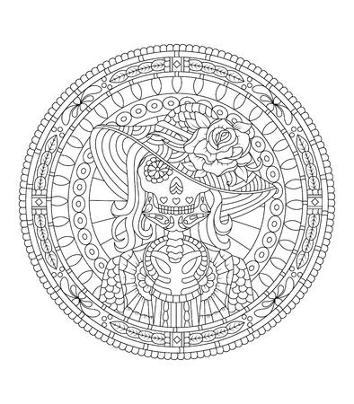 Dibujado a mano cráneo de cráneo mexicano con el patrón en la cara como archivo del vector aislado Foto de archivo - 101049389