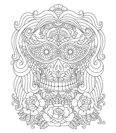 Hand drawn Skull of girl with Flowers Pattern.Mexican holiday Day of the Dead. isolated vector file Illustration