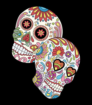Day of the dead colorful sugar skulls with flowers pattern. Design elements label, emblem, poster, t-shirt vector illustration.