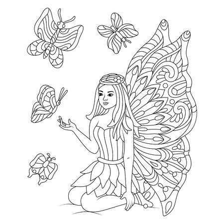 Hand drawn butterflies With beautiful fairy for the anti stress coloring page. Design elements label, emblem, poster, t-shirt. Vector illustration Vettoriali