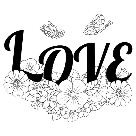 Hand drawn butterflies With flowers and love text for the anti stress coloring page. Design elements label, emblem, poster, t-shirt. Vector illustration Иллюстрация