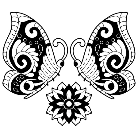 Hand drawn black and white butterflies With flowers. Design elements label, emblem, poster, t-shirt. Vector illustration