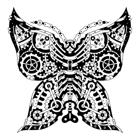 Steampunk Mechanical black and white butterfly on white.