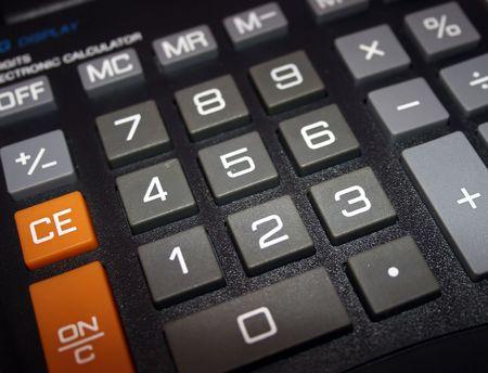 A macro of a big electronic calculator. Banco de Imagens
