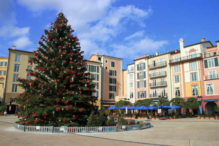 A hotel with a big christmas tree  photo