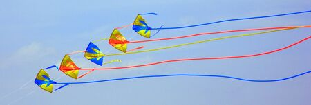 Flying kites in the blue sky of Florida.