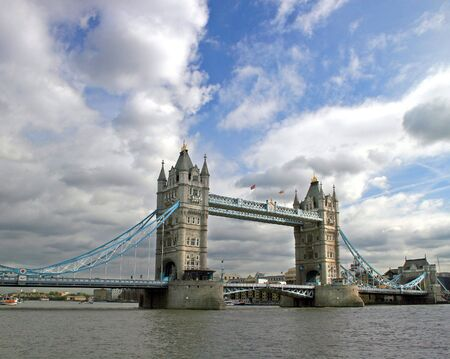 Tower Bridge, full length, in London, UK.