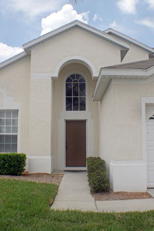 A front exterior of a Florida home, entering in through the door. Stock Photo