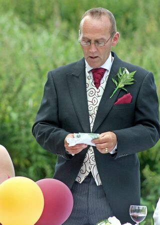 The Groom giving his speech after his Wedding