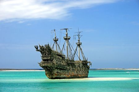 A replica of an old ship in the Caribbean. Stock Photo