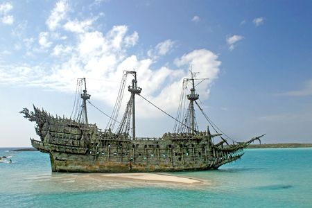 replica: A replica of an old ship in the Caribbean Stock Photo