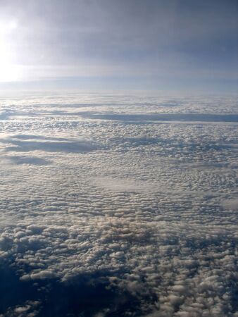 View of a lot of Clouds from an airplane