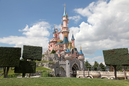 PARIS, FRANCE - JULY 1: The Disneyland Paris Castle freshly painted on July 1st 2011.