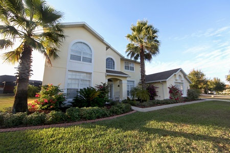 A Front Exterior of a Large Florida Home Stock Photo - 10185033