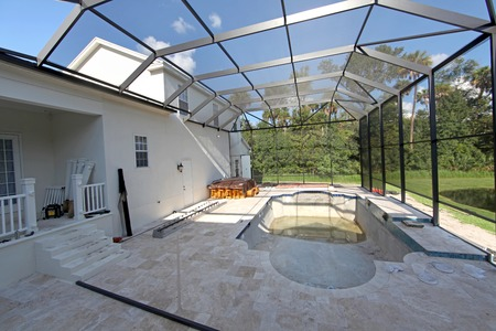A Swimming Pool under construction in Florida Stock Photo