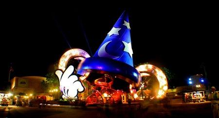 ORLANDO, FLORIDA - January 5th 2007 - the Sorcerers Hat at night at Disneys Hollywood Studios in Walt Disney World