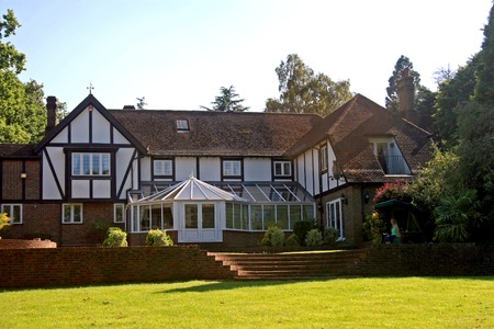 residential home: A large estate home, Tudor style, in the UK.