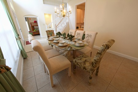 interior shot: An interior shot of a dining room in a home