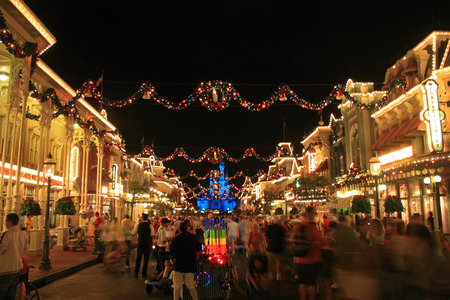 ORLANDO, FLORIDA - January 3, 2007 - Main Street USA at Magic Kingdom at Walt Disney World with Christmas Decorations.
