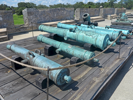 marcos: Cannons at the Castillo de San Marcos Fort in St Augustine, Florida. Stock Photo