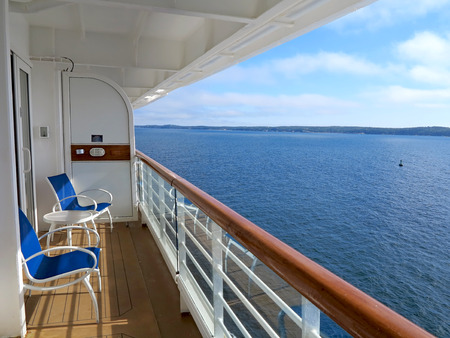 balcony: The view of McNabs Island, Halifax, Nova Scotia, Canada from a cruise ship balcony