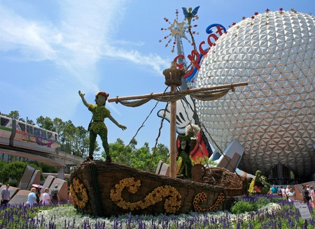 ORLANDO, FLORIDA - May 21st, 2007 - The front display for the Epcot Flower and Garden Festival, showing Peter Pan, Captain Hook, Tinkerbell and the Crocodile at Epcot, Walt Disney World