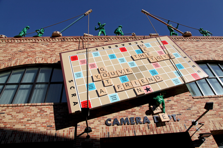 ORLANDO, FLORIDA - January 13, 2010 - Toy Story Scrabble Board in Pixar Place with Green Army Men and Tinker Toys, Disneys Hollywood Studios, Walt Disney World.