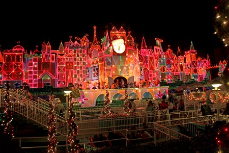small world: ANAHEIM, CALIFORNIA - November 16, 2011 - The exterior lights and decorations of Its a Small World Holiday.