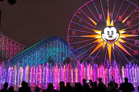 ANAHEIM, CALIFORNIA - September 20, 2010 - World of Color in Disney's California Adventure, Disneyland, with Mickey's Fun Wheel and California Screamin'