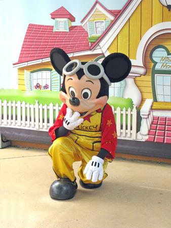 mickey: MARNE-LA-VALLEE, FRANCE - August 1, 2008 - Mickey Mouse greeting guests in Walt Disney Studios Park, Disneyland Resort Paris
