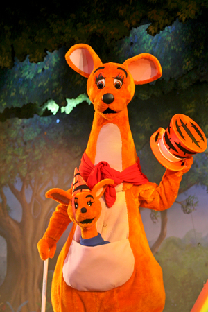 roo: MARNE-LA-VALLEE, FRANCE - August 23, 2006 - Kanga and Roo in the Winnie the Pooh and Friends, too! show in Fantasyland in Disneyland Resort Paris.