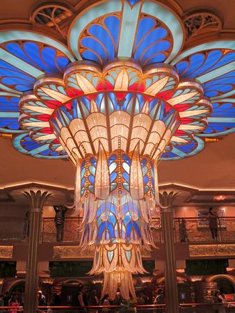 glasswork: NASSAU, THE BAHAMAS - January 30, 2013 - The Art Deco-style Chandelier on the Disney Dream Cruise Ship