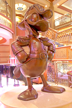admiral: NASSAU, THE BAHAMAS - September 21, 2011 - The Admiral Donald Statue on the Disney Dream Cruise Ship