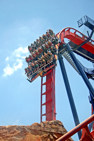 TAMPA, FLORIDA - May 9, 2007 - The SheiKra Diving Roller Coaster in Busch Gardens Tampa.