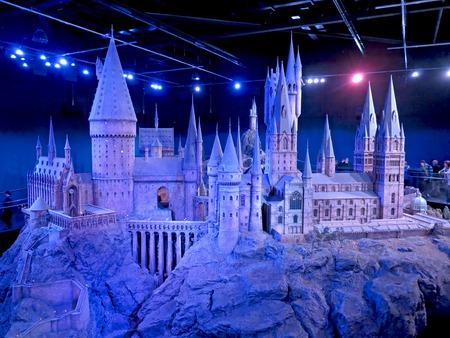 warner: LONDON, ENGLAND - July 30, 2012 - A scale model of Hogwarts at The Warner Bros. Studio Tour - Making of Harry Potter.