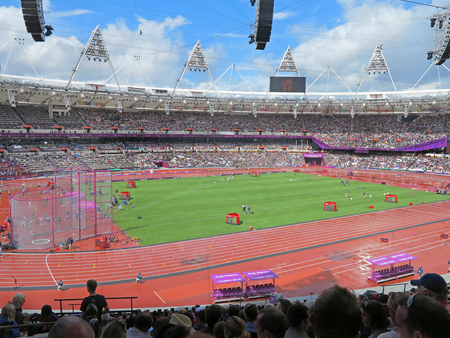 LONDON, ENGLAND - August 3, 2012 - Athletics in the Olympic Stadium for the Summer Olympics in London 2012 Stok Fotoğraf - 46033706