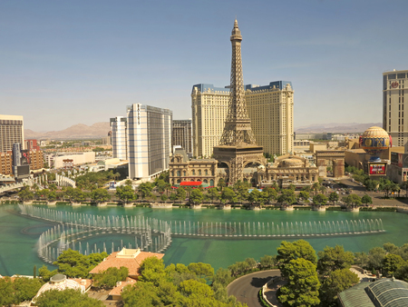 bellagio las vegas: View of the Las Vegas Strips from the Bellagio, including the fountains and paris
