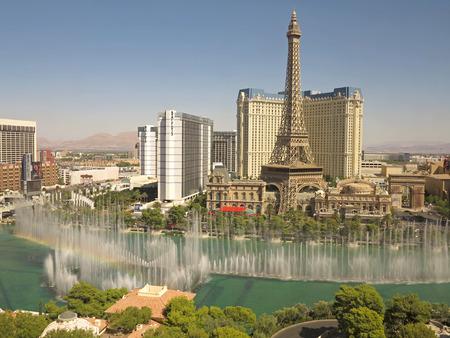 bellagio fountains: View of the Las Vegas Strips from the Bellagio, including the fountains and Paris