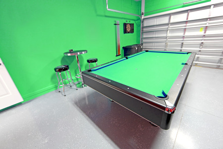 cues: A Games Room with Pool Table in a Garage