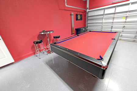 pool room: A Games Room with Pool Table in a Garage