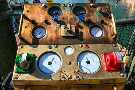 A machine with many dials and knobs