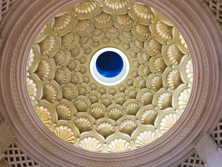 The dome ceiling featuring seashell at Atlantis Resort, Paradise Island, Nassau, Bahamas.