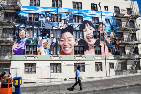 san fran: San Francisco, CA, USA – August 24, 2010: The Ping Yuen Mural on Stockton Street in Chinatown San Francisco