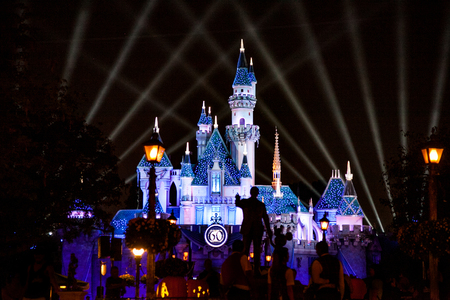 ANAHEIM, CALIFORNIA - September 20th 2015 - The Disneyland Castle at night celebrating the 60th anniversary.