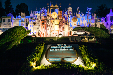 ANAHEIM, CALIFORNIA - September 20th, 2015 - Disneylands Its a Small World at night