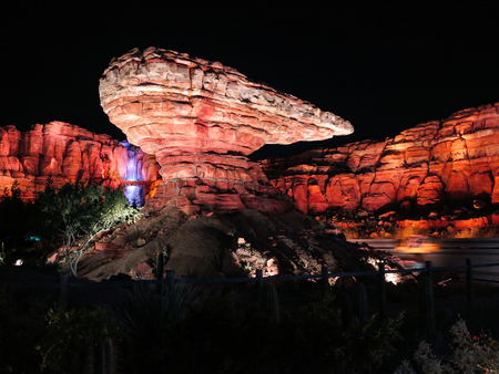 ANAHEIM, CALIFORNIA - September 19th, 2015 - Willys Butte at night in Cars Land in Disneys California Adventure at Disneyland Editöryel