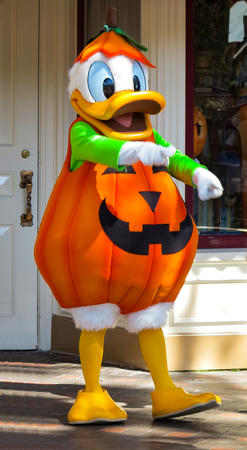 ANAHEIM, CALIFORNIA - September 16th, 2015 - Donald Duck at Halloween with a pumpkin costume Editöryel